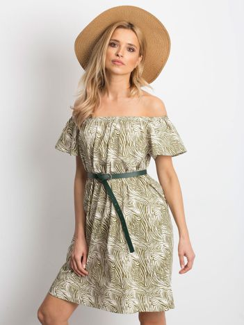 643d6e1604 Ecru-zielona sukienka Mansion