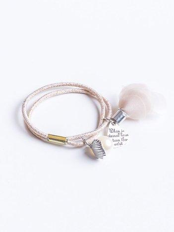 Elegancka beżowo-złota gumka do włosów z ozdobami perła i kwiat