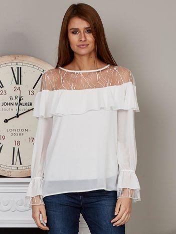 Elegancka bluzka z falbaną biała