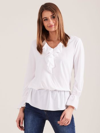 Elegancka bluzka z falbanami biała