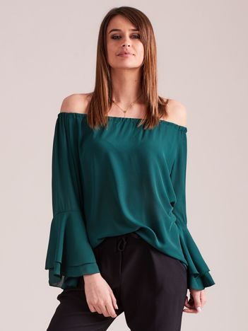 Elegancka gładka bluzka hiszpanka ciemnozielona