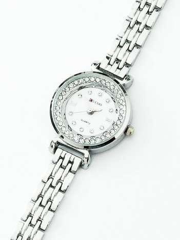 Elegancki srebrny zegarek damski z kryształkami