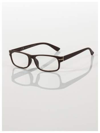Eleganckie brązowe matowe korekcyjne okulary do czytania +3.5 D  z sytemem FLEX na zausznikach