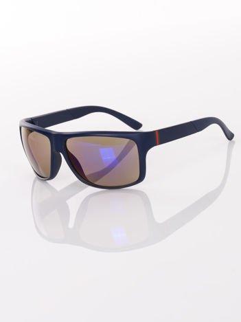 Eleganckie męskie granatowe okulary przeciwsłoneczne w SPORTOWYM SYTLU
