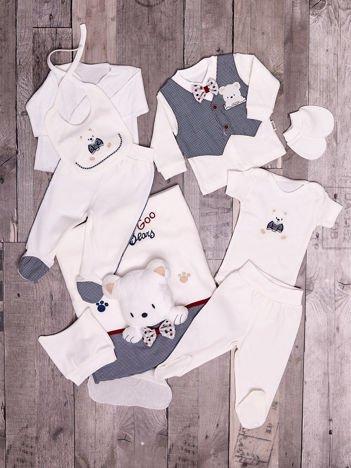 Ercu-granatowy zestaw bawełniany dla niemowlaka z misiem 10 elementów