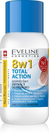 """Eveline Nail Therapy Professional Zmywacz do paznokci 8w1 Total Action bezacetonowy  150 ml"""""""