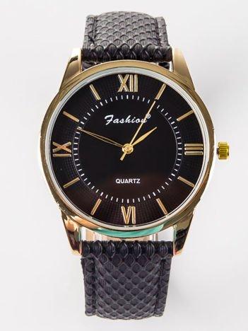 FASHION Damski czarny zegarek z tłoczoną tarczą i ozdobnym paskiem