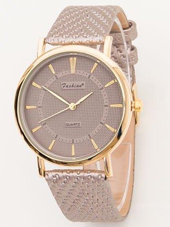 FASHION złoty zegarek z wytłaczanym paskiem