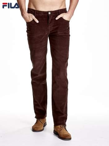 FILA Brązowe spodnie męskie sztruksowe chinosy