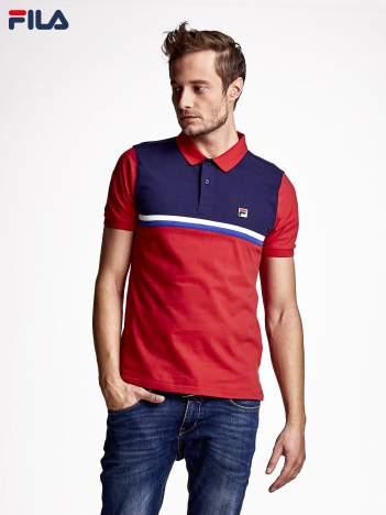 FILA Czerwona modułowa koszulka polo męska