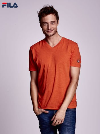 FILA Pomarańczowy t-shirt męski z dekoltem w serek
