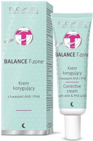 FLOSLEK BALANCE T-zone Krem korygujący na noc z kwasami AHA i PHA do cery mieszanej 50 ml