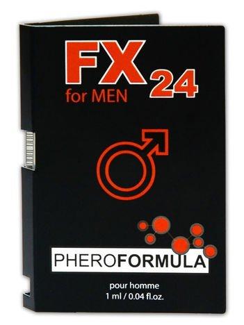 FX24 - feromony męskie o eleganckim, męskim zapachu Działają silnie podniecająco na kobiety1ml