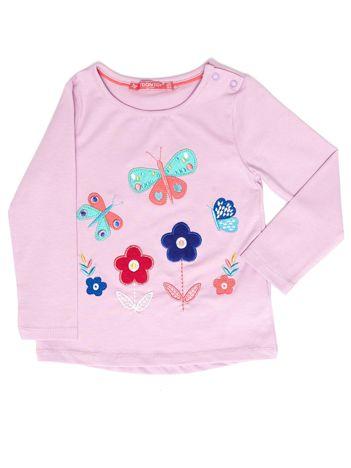 Fioletowa bluzka dla dziewczynki z kolorowymi naszywkami