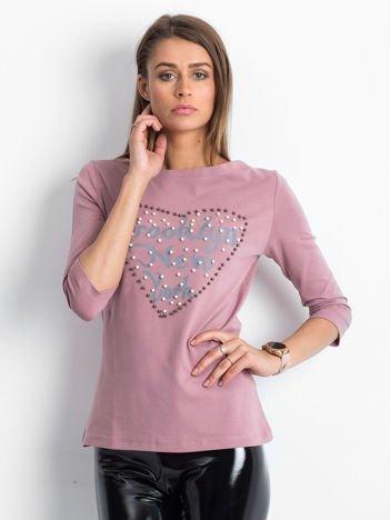 Fioletowa bluzka z perełkami i napisem