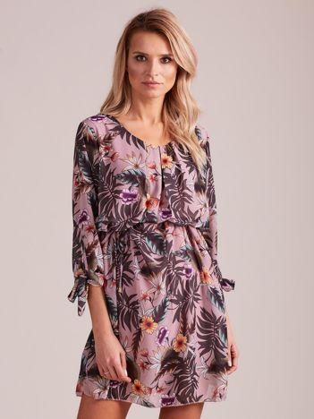 Fioletowa kwiatowa sukienka damska