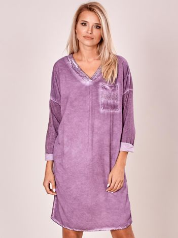Fioletowa luźna sukienka damska