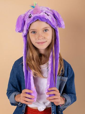 Fioletowa pluszowa czapka