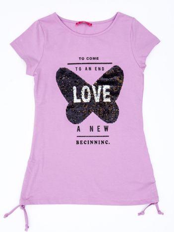 Fioletowa tunika dla dziewczynki z dwustronnym cekinowym motylem