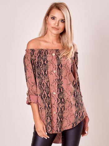 Fioletowa wzorzysta bluzka hiszpanka