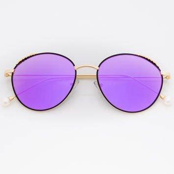 Fioletowe Damskie Okulary przeciwsłoneczne Lustrzane Z PERŁAMI Na Zausznikach