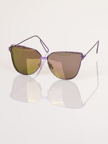 """Fioletowe eleganckie okulary przeciwsłoneczne """"KOCIE OCZY"""""""