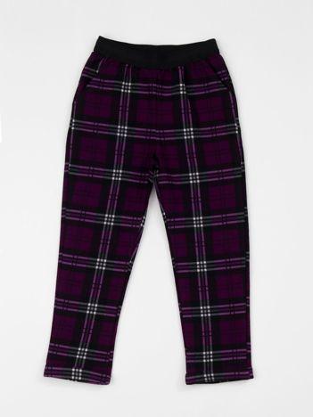 Fioletowe spodnie dziecięce w kratkę