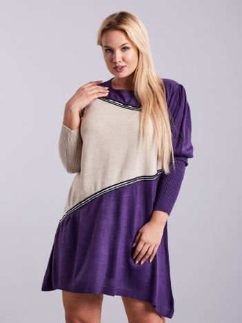 Fioletowo-beżowa sukienka dzianinowa PLUS SIZE