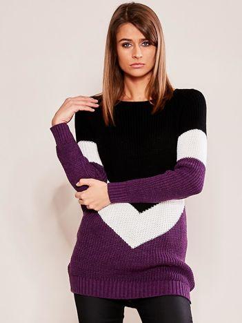 Fioletowo-czarny sweter z geometryczny motywem