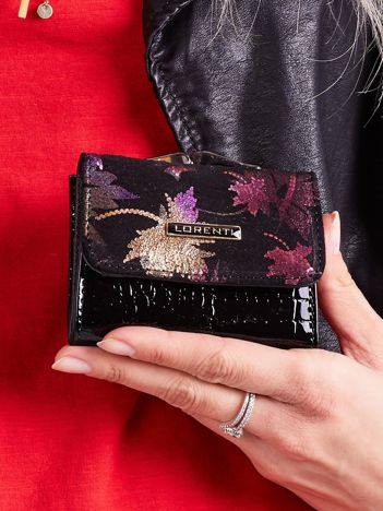 Fioletowy damski portfel z motywem roślinnym