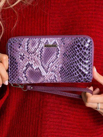 Fioletowy portfel damski z motywem zwierzęcym