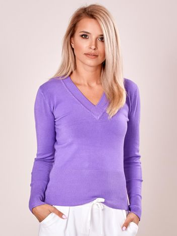 Fioletowy sweter w serek