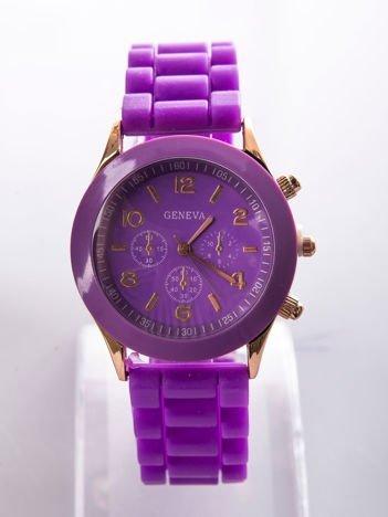 Fioletowy zegarek damski z silikonowym paskiem