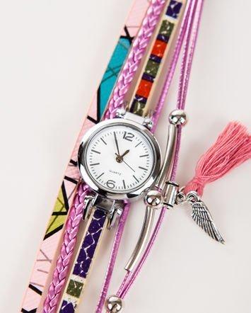 Fioletowy zegarek damski  z zawieszkami chwost i skrzydło