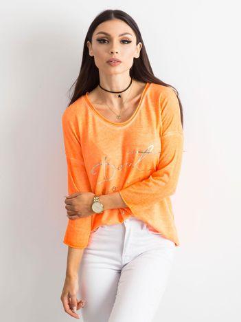 Fluo pomarańczowa bluzka w serek z napisem