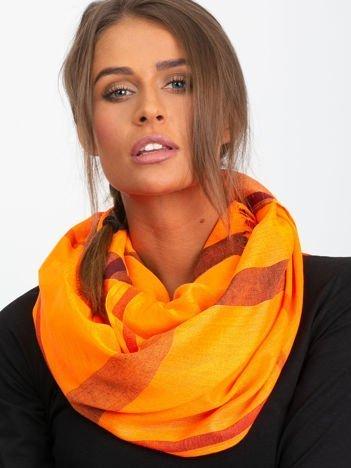 Fluo pomarańczowa chusta w kratkę