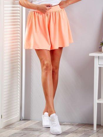 Fluo pomarańczowa rozkloszowana dresowa spódnica