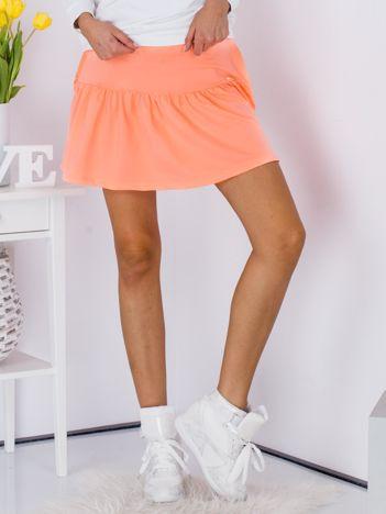 Fluo pomarańczowa spódnica z falbaną