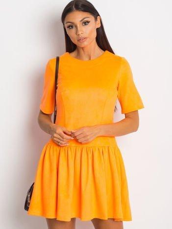 Fluo pomarańczowa zamszowa sukienka
