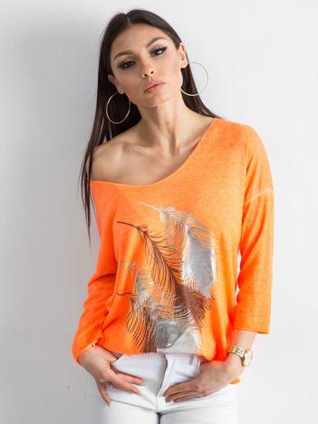 Fluo pomarańczowy cienki sweter z nadrukiem