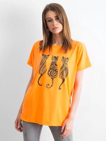 Fluo pomarańczowy t-shirt Kittens