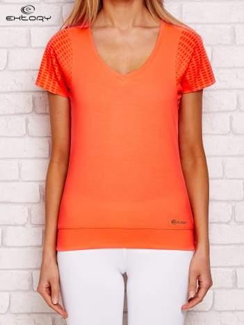 Fluo pomarańczowy t-shirt sportowy