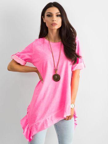 Fluo różowa asymetryczna tunika