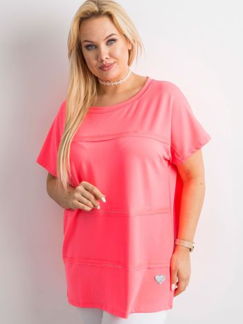 Fluo różowa bluzka plus size z aplikacją