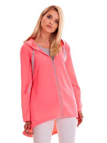 Fluo różowa długa bluza na zamek z kapturem