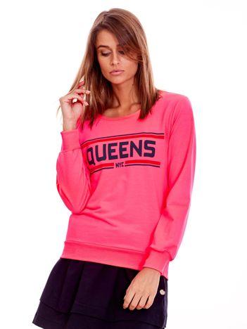Fluo różowa lekka bluza z napisem QUEENS NYC