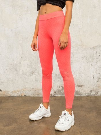 Fluo różowe legginsy w cętki