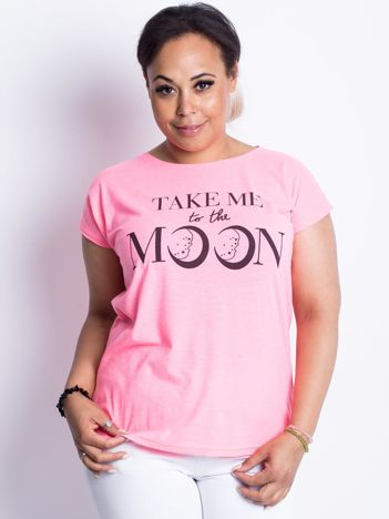 Fluo różowy t-shirt plus size Moonraker