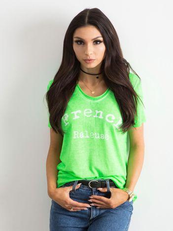 Fluo zielona bluzka z napisem