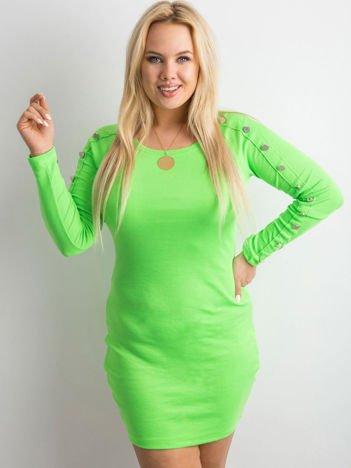 Fluo zielona prążkowana sukienka z guzikami